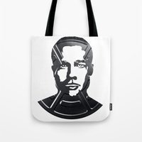 brad pitt Tote Bags featuring Brad Pitt by Alejandro de Antonio Fernández
