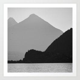 Brienz Lake At Sunset. Alps. Switzerland. Bw Art Print