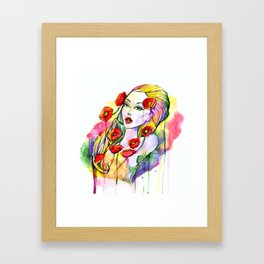 Waterolor beautful girl Framed Art Print