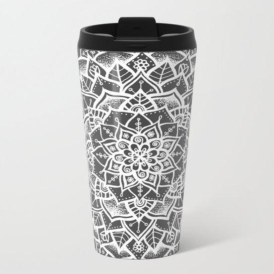 Grey Mandala Metal Travel Mug