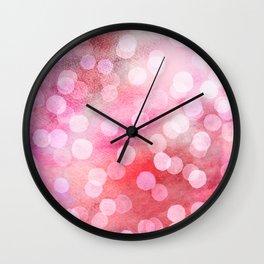 Strawberry Sunday - Pink Abstract Watercolor Dots Wall Clock