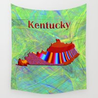 kentucky Wall Tapestries featuring Kentucky Map by Roger Wedegis