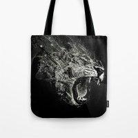 fierce Tote Bags featuring Fierce by Ismael Sandiego