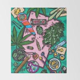 Cannabis Altar I Throw Blanket