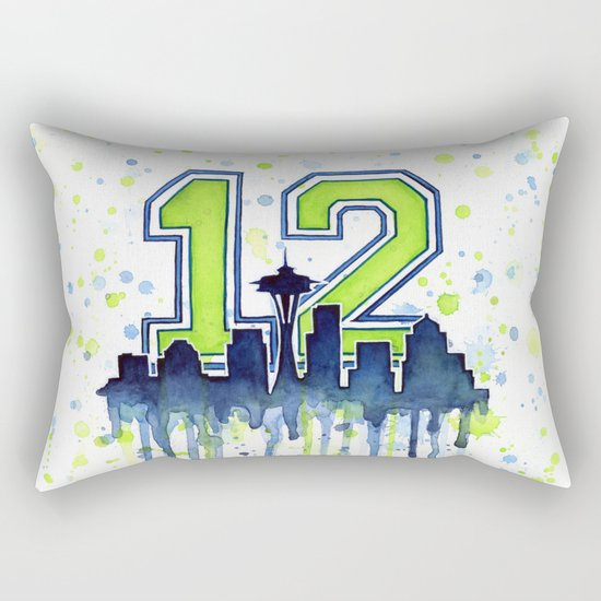 Hawks 12th Man Fan Art Seattle Space Needle Rectangular Pillow