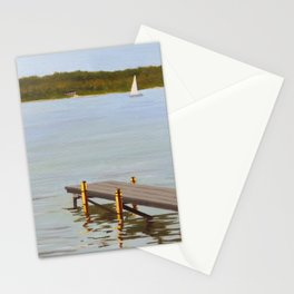 Dock in Lake Huron painting Stationery Cards