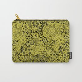 Mustard Floral Dove Lace Carry-All Pouch
