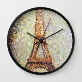 The Eiffel Tower, Paris, France by Georges Seurat Wall Clock