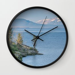 Yellowstone Lake Mountains Print Wall Clock