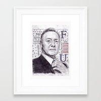 frank underwood Framed Art Prints featuring Frank Underwood by LiffyDesignsArt