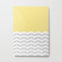 Grey, White & Yellow Half Chevron Metal Print