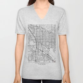 Tucson Map White Unisex V-Neck