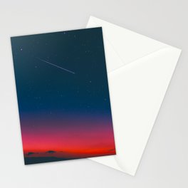 Neon Blue Pink Night Star Sky Stationery Cards