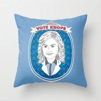 leslie knope Throw Pillows featuring Vote Knope by geeksweetie