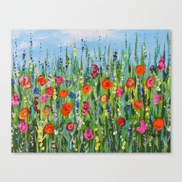 Wildflower Meadow2, Abstract Floral Art, Flower Field Canvas Print