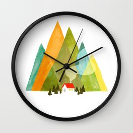 House at the foot of the mountains Wall Clock