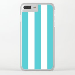 Sea Serpent turquoise - solid color - white vertical lines pattern Clear iPhone Case