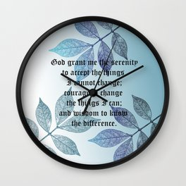 Serenity Prayer with Leaves Wall Clock