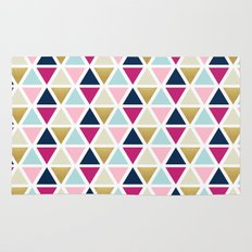 Triangle Geometry, Gold, Navy blue and Pink Rug