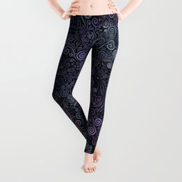 3d Psychedelic Violet and Teal Leggings