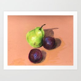 Still life with Pear and Plums Art Print