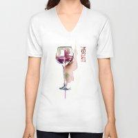wine V-neck T-shirts featuring Wine by tatiana-teni