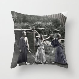 Colourised: Japanese Archers Throw Pillow