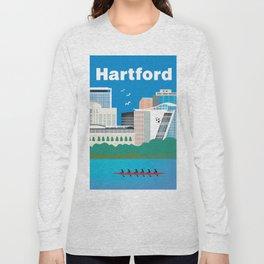 Hartford, Connecticut - Skyline Illustration by Loose Petals Long Sleeve T-shirt
