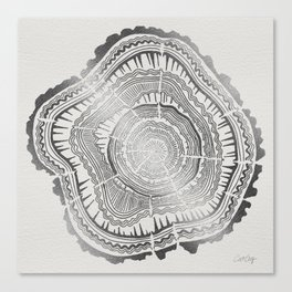 Growth Rings – 65 Years – Silver Canvas Print