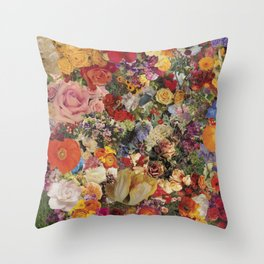 Flower Power Collage Throw Pillow