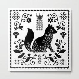 Woodland Folk Black And White Fox Tile Metal Print