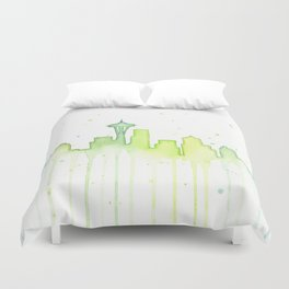 Seattle Skyline Watercolor Space Needle Painting Duvet Cover