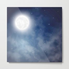 Night sky moon Metal Print