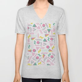 Abstract retro pink teal yellow geometrical 80's pattern Unisex V-Neck