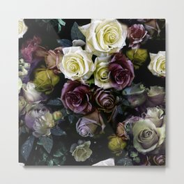 Roses dark moody Old Masters style floral pattern Metal Print