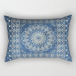 Old Bookshop Magic Mandala in Blue Rectangular Pillow