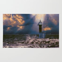 Light House in storm Rug