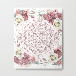 Mandala Garden Roses Warm Rose Gold Metal Print