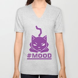 #MOOD Cat Purple Unisex V-Neck