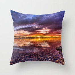 Columbia River North America HDR sunset beautiful nature British Columbia Canada Throw Pillow
