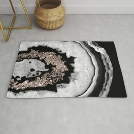 Gray Black White Agate with Rose Gold Glitter #4 #gem #decor #art #society6 Rug
