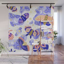 Abstract watercolor lilac navy blue gold butterflies Wall Mural