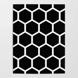 Honeycomb pattern - Black and White Poster