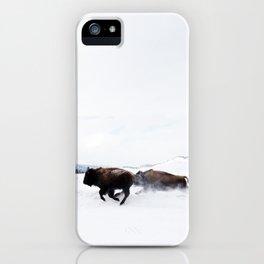 Wild Bison Running in Winter iPhone Case