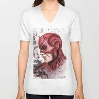 daredevil V-neck T-shirts featuring Daredevil by rchaem