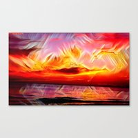 Canvas Prints featuring Sky on Fire (Sunset over Great Lake Michigan Beach) by HIGraphicDesigns