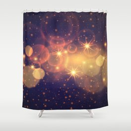 Shiny Sparkling Festive Holiday Bokeh Decorative Shower Curtain
