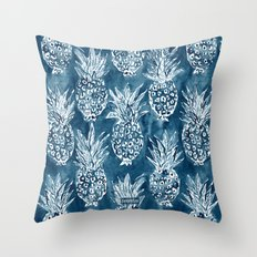 PINEAPPLE STANCE Indigo Boho Watercolor Throw Pillow