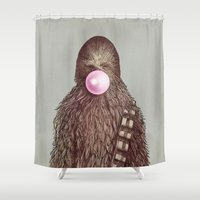 yetiland Shower Curtains featuring Big Chew by Eric Fan