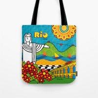 rio de janeiro Tote Bags featuring Rio de Janeiro 2015 by Monica Fuchshuber